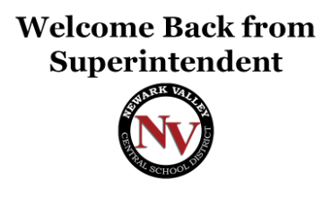 Welcome Back from Superintendent