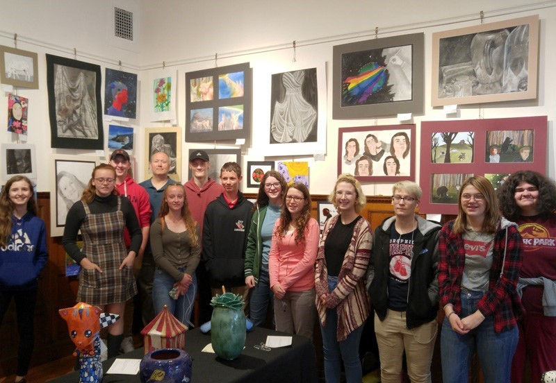 Group of students in an art gallery