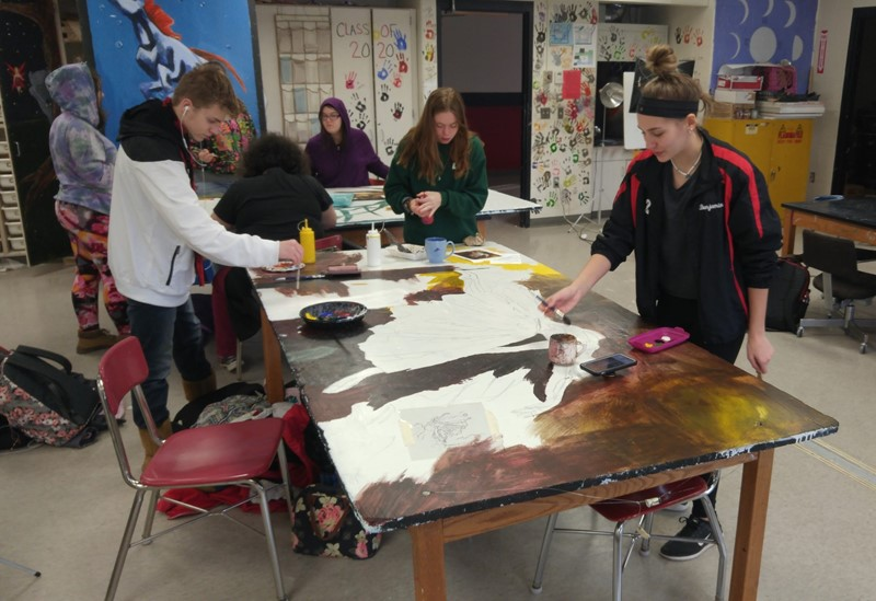 Students painting in an art room